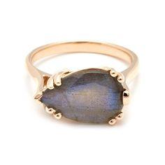 Pear Luna Ring - Yellow Gold & Labradorite – Anna Sheffield Jewelry