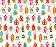 Happy Beetles fabric by katerhees on Spoonflower - custom fabric loving this spoonflower fabric Mais Textures Patterns, Fabric Patterns, Print Patterns, Loom Patterns, Surface Pattern Design, Pattern Art, Paper Scrapbook, Art Doodle, Stoff Design