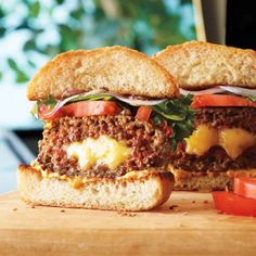 Cheese filled burgers. I'll have mine with grilled onions, gruyere and French onion soup mix with what's that here sauce in the ground beef. Oh, and while you're at it, hit that puppy with some bacon..... Yes, yes I will