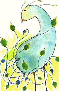 """PEACOCK AS A GARDEN """"My Far Away Place Called Home"""" Watercolor and Ink on Paper"""