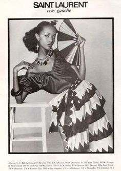 Iman photographed by David Bailey for the Yves Saint Laurent SS 1980 fashion campaign