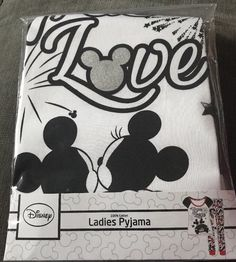 Disney Mickey Mouse Minnie Mouse Ladies Cotton Pyjamas Set Size 20-22 True Love  | eBay