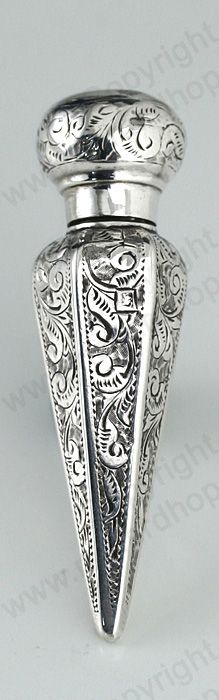 UNUSUAL ANTIQUE 1894 BRIGHT CUT STERLING SILVER SCENT PERFUME BOTTLE Price: £185.00.  For more information about this item click here: http://www.richardhoppe.co.uk/item.php?id=2437 or email us here: info@richardhoppe.co.uk