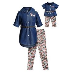 Girls Dollie & Me Chambray Shirt Dress, Leggings & Belt Set & Matching Doll Outfit, Blue (Navy) Pajama Outfits, Girl Outfits, American Doll Clothes, Chambray Dress, Cotton Leggings, Cute Baby Clothes, Dresses With Leggings, Girls 4, Clothing Patterns