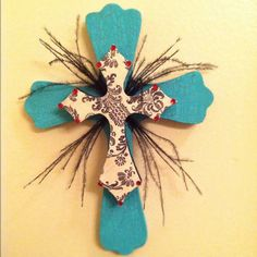 Turquoise black white and red wooden cross by pinkadoodle23, $15.00