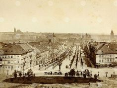 Wenceslas Square in year view from todays National Museum… Prague City, Prague Castle, Prague Photos, Heart Of Europe, Prague Czech, History Photos, Central Europe, National Museum, More Pictures