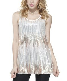 This Gold & White Sequin Sleeveless Tunic - Women by JohnFashion is perfect! #zulilyfinds