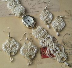 Micro-macrame bridal watch and earrings