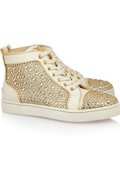 Christian Louboutin | Louis Woman Swarovski crystal leather high-top sneakers