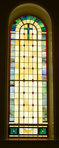 Stained glass in the sanctuary of First Baptist Church, Etowah, TN
