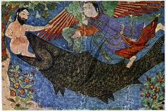 JONAH AND THE WHALE.   Persian miniature, late 14th century.