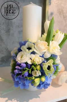 Baptism Candle, Bouquets, Candles, Table Decorations, Weddings, Business, Green, Flowers, Home Decor