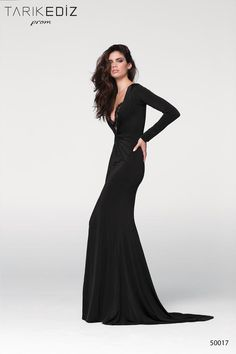 The style name is Carlas. The fabric in this Tarik Ediz Prom style is Jersey