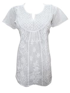 Mogul White Tunic Tops Women's Summer Cotton Short Sleeve Blouses (Small) Mogul Interior http://www.amazon.com/dp/B013WD3C74/ref=cm_sw_r_pi_dp_urOZvb0ZT0WRC