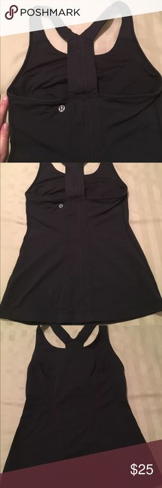 Black lululemon razor back size 4 Like new condition. Minimal use. Thicker material. Holds everything in while being able to move freely. The razor back straps are thicker than the power y tanks. Color is black. lululemon athletica Tops