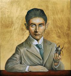 Portrait of Franz Kafka with a Gigantic Insect Painting Saatchi Art, Insects, Original Paintings, Portrait, Image, Art, D Day, Idea Paint, Men Portrait