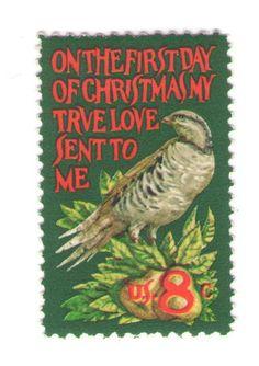1971 Unused Vintage Postage Stamps - Partridge in a Pear Tree Christmas - 10…