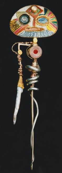 william harper  SELF-PORTRAIT OF THE ARTIST AS THE ARCHANGEL MICHAEL  gold cloisonne' enamel on fine gold and fine silver;18 an 24 kt gold; sterling silver; pearls; opal;  glass; plastic