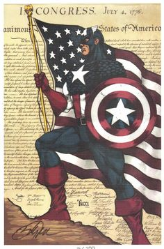 Captain America Print - Multiple Available - Signed & Numbered by Billy Tucci, in Anthony Snyder's Tucci, Billy Comic Art Gallery Room - 816389