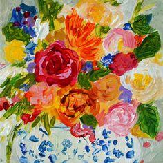 "Small Floral Still Life ""Vivienne"" by Carolyn Shultz/Blue Poppy Design SOLD"
