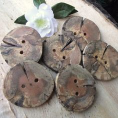 6 Spalted Dogwood Wooden Tree Branch Buttons