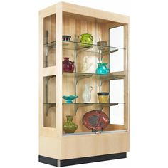 The Premier Display Cabinet from Diversified Woodcrafts can beautifully showcase everything from science and art projects to trophies and lab equipment. One fixed bottom shelf and four adjustable tempered glass shelves give you the flexibility to customize changing displays. Sliding glass doors and