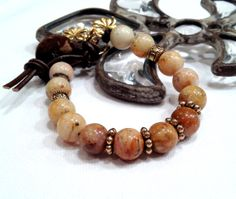 Gorgeous Jasper Earth Tone Beads with Leather by LoveandLulu, $38.00