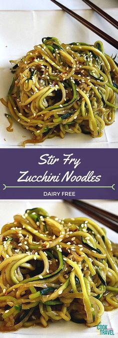 Stir Fry Zucchini Noodles are slightly spicy, fun to make, vegan and dairy free, and totally delicious. Eating food that's good for you becomes fun with this healthy recipe! recipes for two recipes fry recipes Stir Fry Zucchini Noodles, Zucchini Noodle Recipes, Vegetable Recipes, Dairy Free Zucchini Recipes, Zuchinni Recipes, Dairy Free Zoodle Recipes, Vegetable Dishes, Vegetarian Cooking, Vegetarian Recipes