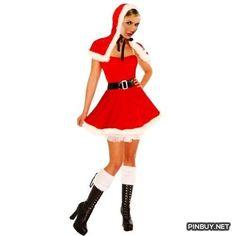 Amour – Deluxe Velvet Polar Santa Christmas Costume Dress Set & Hooded Cape - PinBuy