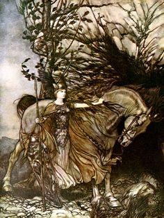 Brünnhilde and Her Horse, Arthur Rackham