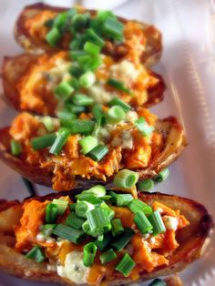 Buffalo Chicken Potato Skins with Blue Cheese and Cheddar Cheese -Yum!