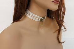 Victorian Choker Ivory Lace Edwardian Necklace by Jewelshart