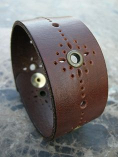 Mens Brown Leather Cuff Rivets Cut Out Design by ARTifactsBYJANIE, $21.99