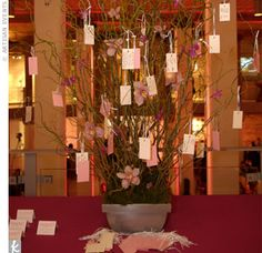 "The couple was inspired by their trip to Japan to have a ""wish tree"" in place of a guest book. In that country, people write their hopes and dreams on a card and hang them on tree branches all over the local town. Rainbow Decorations, Reception Decorations, Reception Ideas, Rose Wedding, Diy Wedding, Wedding Ideas, Southern Weddings, Real Weddings, Japanese Wedding Traditions"
