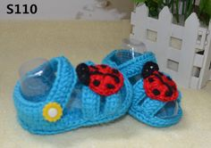 Crochet baby shoes, crochet blue baby sandals, summer baby girl shoes, ladybug baby shoes, baby christening, baby gift FREE DELIVERY