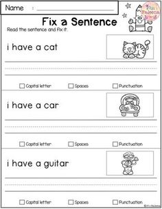 Free Reading and Writing Practice First Grade Worksheets, First Grade Activities, Grammar Activities, Teaching Phonics, Teaching Reading, Free Reading, 1st Grade Homework, 1st Grade Writing, Kindergarten Writing