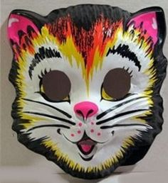 Vintage Halloween mask ~~~ My first costume was a bear and I remember how hot the plastic mask was. Retro Halloween, Halloween Cat, Halloween Costumes, Halloween Ideas, Halloween Decorations, Table Decorations, My Childhood Memories, Childhood Toys, Great Memories