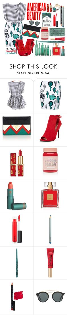 """""""American Beauty"""" by tatianavalador ❤ liked on Polyvore featuring Prada, Lime Crime, Avon, Dolce&Gabbana, MAC Cosmetics, Laura Mercier, NYX, Too Faced Cosmetics, Ray-Ban and contest"""