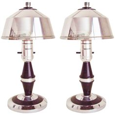 Rare Pair of American Art Deco or Machine Age Chrome and Black Boudoir Lamps