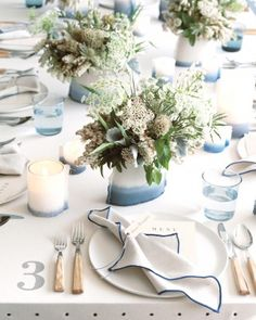 On a table or as part of an escort-card display, the textile has limitless possibilities to create a beautiful touch at your celebration. Reception Decorations, Wedding Centerpieces, Table Decorations, Martha Stewart Weddings, Floral Wedding, Diy Wedding, Nautical Wedding, Blue Wedding, Wedding Ideas