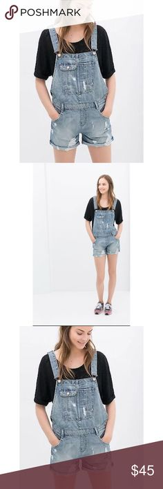 ➡️Zara Denim Shorts Dungarees⬅️ Always in style, with just the perfect amount of distressing. 💕Offers welcome. Take 30% off your entire purchase automatically at checkout when you use the bundle feature, or ask me to create a custom bundle for you. Happy Poshing!💕 Zara Pants Jumpsuits & Rompers