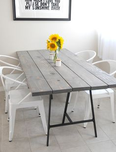 These legs are perfect for a DIY dining table, office desk, dressing table, and similar projects - like the ones shown below. If you have some welding savvy, making these square bar steel trestles isn't a difficult project and perhaps you might want to give it a go. http://www.home-dzine.co.za/diy/diy-dining-table.htm
