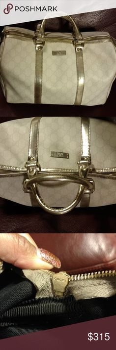 Authentic Gucci Boston Bag . Authentic Gucci Boston Bag in great condition. Purchased from Rodeo Drive store a few years ago on vacation. Color Cream with metallic gold detailed trim. Gucci Bags Satchels