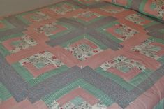 Log Cabin Patchwork Quilt, Blue Green Pink Pastels, Full Queen Comforter, Twin Bedspread, Cottage Cabin Farmhouse Bed Coverlet, Shabby
