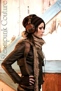 everyday steampunk - love the headphones, the cap, and the scarf, the gloves, the jacket, and... everything lol