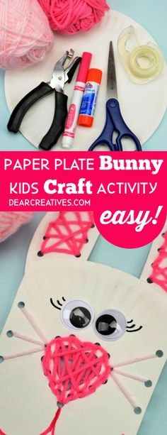 Make this paper plate bunny craft, with kids lacing activity. Fun for spring, Easter or anytime you want to craft with the kids. + more crafts ideas. Fun Activities For Kids, Easy Crafts For Kids, Diy For Teens, Crafts To Make, Art For Kids, Unicorn Crafts, Bunny Crafts, Easter Crafts, Paper Plate Crafts