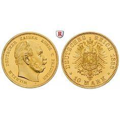 Deutsches Kaiserreich, Preussen, Wilhelm I., 10 Mark 1888, A, PP, J. 245: Wilhelm I. 1861-1888. 10 Mark 1888 A. J. 245; GOLD,… #coins