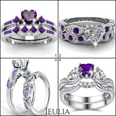 Jeulia offers premium quality jewelry at best price, shop now! Purple Jewelry, Amethyst Jewelry, Jewelry Accessories, Purple Engagement Rings, Engagement Ring Shapes, Pretty Rings, Beautiful Rings, Piercing, Bridal Jewelry