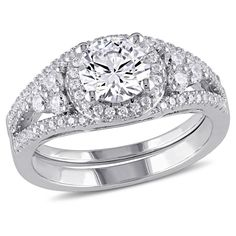 2.93 CT. T.W. Cubic Zirconia Bridal Set in Sterling Silver (8), Women's, White