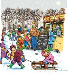 This illustration will be featured on the back cover of this March's Highlights for Children . Cartoon Art Styles, Cartoon Pics, Speech Sound Development Chart, About Winter Season, Picture Comprehension, Picture Composition, Picture Writing Prompts, Human Drawing, Hidden Pictures